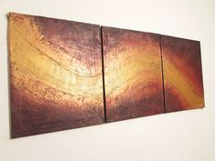 "HUGE triptych abstract original ""River of Gold"" gold impasto abstract painting art canvas - 48 x 20 inches Acrylic painting by Stuart Wright"