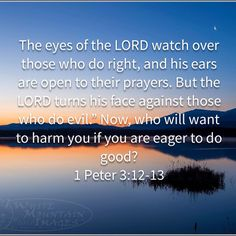 The eyes of the LORD watch over those who do right, and his ears are open to their prayers. But the LORD turns his face against those who do evil. Hope Scripture, Bible Verses Quotes, Bible Scriptures, Faith Quotes, Biblical Quotes, Prayer Quotes, Spiritual Quotes, Faith Prayer, Faith In God