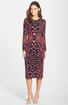 Maggy+London+Tie+Dye+Print+Crepe+Midi+Sheath+Dress+available+at+#Nordstrom