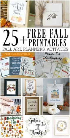 25+ Free Fall Printables - decor art, fall/Thanksgiving planners, games, and more! #printables #fall
