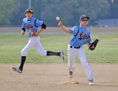 Third baseman David Erickson fires a ball to first base. He is backed up by shortstop Zack Gelof. Click http://capegazette.villagesoup.com/p/beacon-wins-in-battle-of-undefeated-teams/1181773 to read baseball article: Beacon wins in battle of undefeated teams by Nick Roth