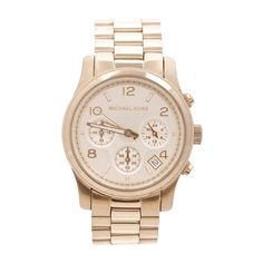Pre-Owned Michael Kors Gold-Tone Stainless Steel Runway Chronograph... (£110) ❤ liked on Polyvore featuring jewelry, watches, michael kors watches, chronograph wrist watch, pre owned watches, stainless steel jewelry and pre owned jewelry