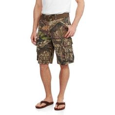 Faded Glory Men's Belted Stacked Cargo Short, Size: 30, Green