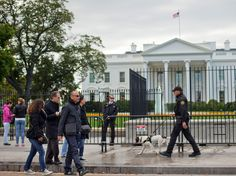 A Secret Service police officer and K9 dog patrol the sidewalk in front of the White House - AP Photo/Pablo Martinez Monsivais