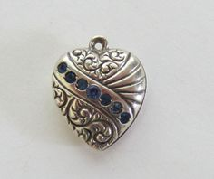C1940's Sterling Repousse Puffy Heart Charm With Blue Stones