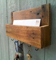 On Sale / Reclaimed Pallet Wood Mail and Key Rack / The Samson / No.105 by lupe