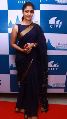 Nayantara Latest Stills In Very Hot Blue Saree - Tollywood Stars Kerala Saree Blouse Designs, Saree Jacket Designs, Nayanthara In Saree, Purple Saree, Navy Blue Saree, Saree Jackets, Simple Sarees, Designer Blouse Patterns, Saree Dress