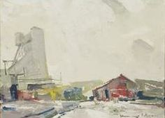 """""""Industrial Winter Landscape,"""" Chauncey Foster Ryder, oil on canvasboard, 12 x 16"""", private collection."""