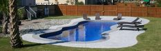 Large Fiberglass Pool Designs Small Fiberglass Pools, Small Backyard Patio, Pool Builders, Blue Hawaiian, Modern Kitchen Design, Pool Designs, Decoration, Spa, Outdoor Decor
