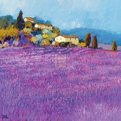 Wild Lavender, Provence Posters by Hazel Barker - by AllPosters.ie - Painting Watercolor Landscape, Landscape Art, Landscape Paintings, Watercolor Paintings, Landscapes, Flower Paintings, Watercolors, Art Moderne, Art Abstrait