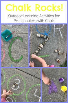 Outdoor learning activities - EASY Chalk and Rocks Activities for Preschoolers Outdoors Playful Learning – Outdoor learning activities Pre K Activities, Classroom Activities, Kindergarten Activities, Learning Activities, Play School Activities, Educational Activities For Preschoolers, Family Activities, Preschool At Home, Preschool Games