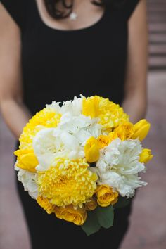 Bright Yellow Bouquet from AStemAbove.com on http://www.StyleMePretty.com/midwest-weddings/2014/03/27/modern-chicago-wedding-at-the-metropolitan-club/ Photography: TheRasers.com  on #SMP