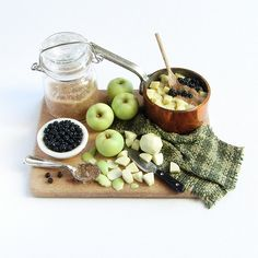 Stewing Apples and Blackberries Prep Board - 1:12 Scale Dollhouse Miniature Food