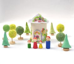 Crochet neon green Tree   3 pcs Fairy Forest toys for by Dindon, €18.00