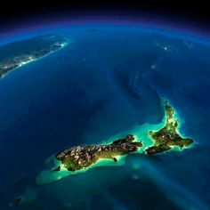 New Zealand - earth seen from space at night by nasa Earth At Night, Earth From Space, Jolie Photo, Planet Earth, Beautiful World, Scenery, Places To Visit, The Incredibles, Adventure