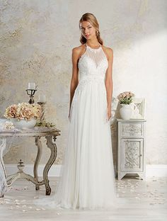 Alfred Angelo Style 8571: soft net wedding dress featuring halter neckline and low back