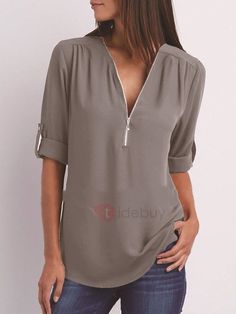 Women Chiffon Blouse 2018 Summer Elegant Solid V-Neck Zipper Blouse Shirt Loose Casual Tops Blusas Camisas Mujer Plus Size Casual Tops For Women, Blouses For Women, Ladies Blouses, Ladies Tops, Cheap Blouses, Stylish Tops, Dress Shirts For Women, Camisa Feminina Plus Size, Fashion Clothes