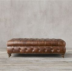 Comfortable sanctuary Leather Ottoman Stool with Tufted tight bench seat