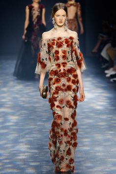 Marchesa Autumn / Winter 2016 AW16- New York Fashion Week NYFW - Embroidered red flowers in a long transparent dress an bare shoulders