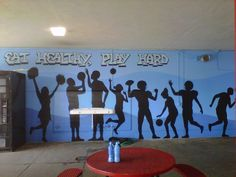 school cafeteria murals | ... , Play Hard! – A Healthy Message Mural For Westchester High School