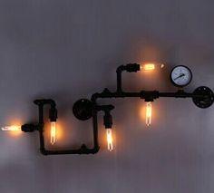 Pas cher Livraison gratuite à l'europe industrielle tuyau d'eau d'éclairage fer noir fini edison style rétro vintage E27 lampe de fixation murale, Acheter Lampes murales de qualité directement des fournisseurs de Chine: Paroi du tuyau de fer lampe 1100mm longueur. Noir fini 5-arm