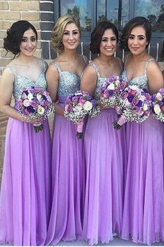 Spaghetti Straps Long Chiffon Bridesmaid Dressesmbeaded Simple A Line Junior Bridesmaids Natural Dresses