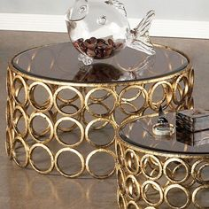 Large Luc Table in Gold - Maison Maison on Joss and Main