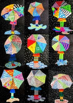 Kunstunterricht Textures on umbrella The school is working # on - art ideas - Spring Art Projects, Spring Crafts, New Crafts, Diy And Crafts, Wood Crafts, Paper Crafts, Rain Pictures, Quilled Paper Art, Umbrella Art