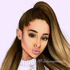 I really don't know what happened with her skin  Im not feeling this drawing but here it is guys! Hope you like it  @arianagrande ☁☁☁