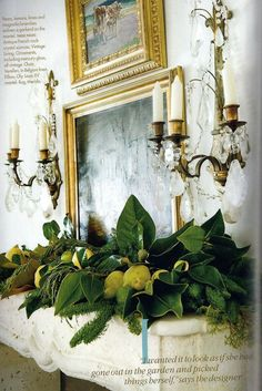Winter's Little Known Myth + Exquisite Christmas Decorations - laurel home | fabulous mantel decor for the holidays #chartreuse | crystal sconces | gold | stone mantel | perfect