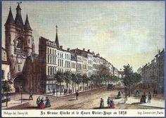 """408:  """"BORDEAUX. Vieille gravure de 1830. La Grosse Cloche et le Cours Victor Hugo. Ancien Fosset de Bordeaux"""""""