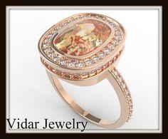 Cushion Cut Peach Sapphire Engagement Ring