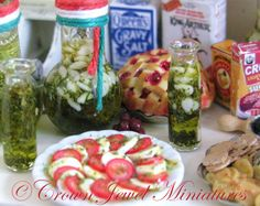 Caprese and garlic & herb olive oil bottles by Crown Jewel Miniatures