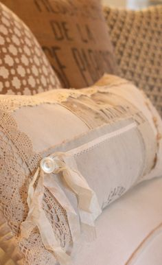 Make a pillow out of scraps of your grandmother's or mother's antique linens so the you can see them and enjoy them everyday!  Better than them sitting in a drawer!