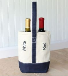 Red/White Canvas Double Wine Tote by FancFrogBoutique on Etsy