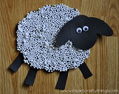 Sheep Craft for Kids from I Heart Crafty Things made out of Styrofoam Pebbles.