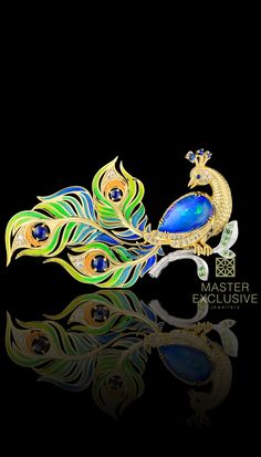 Brooch 13086 Collection: Birds of paradise 18К yellow and white gold, opal 2,17 ct, diamonds, blue sapphires, demantoids enamel.