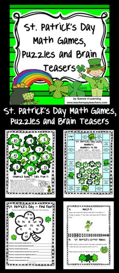 St. Patrick's Day Math Games, Puzzles and Brain Teasers- loads of fun math printables for St. Patrick's Day $