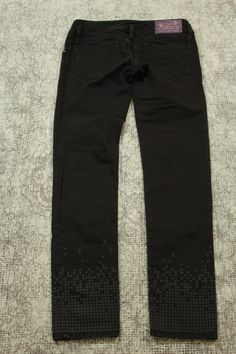 Diesel Matic Denim Jeans Womens Size W28 Black with Square Print 008H9 Stretch #Diesel #StraightLeg