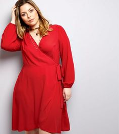 Curves Red Wrap Front Dress | New Look