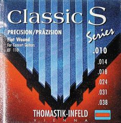 Thomastik KF110 S Series Classical Light Flat Wound by Thomastik. $22.99. Soft steel acoustic guitar strings with extra long sustain. Unique design employs a highly flexible steel rope core that plays comfortably. E, A, and D are silverplated copper flat wound. G, B, and E are nylon tape wound.. Save 51% Off!