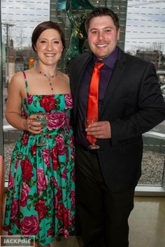 Jasmin Ralph wearing a Bernie Dexter Paris Dress in Turquoise Roses.