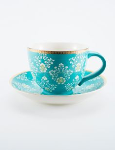 JACQUARD kopp och fat turkos   Mugs/cups   Ceramic/glass   Glas & Porslin   Inredning   INDISKA Shop Online