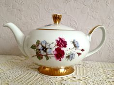 pink floral gold Chodziez Teapot vintage shabby chic teapot for afternoon tea. £12.50, via Etsy.