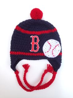 Boston Red Sox Crochet Hat with Baseball by CraftyIAmKnot on Etsy, $25.00