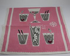 Vintage Hand Tea Towel Mid Century Gray Pink Cocktails Cotton Linen