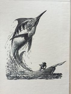 The old man and the sea illustration Hemingway Tattoo, Sea Drawing, Sea Tattoo, Sea Illustration, Sea Art, Sea Monsters, Fish Art, Old Men, Gravure