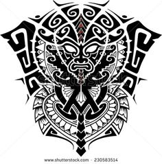 Tribal God Mask with Alpha and Omega symbol vector illustration