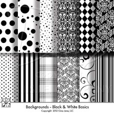 Black and White Basic Digital Scrapbook Backgrounds, Digital Papers, High Resolution, Instant Download, Black dots, stripes, plaids, damask, wedding, graduation, Halloween, Christmas, Elegant, Trendy, Modern Scrapbook Papers by Gina Jane.  Free Printables, Free Graphics, Free Kits, Free Digital Clip Art, Graphics and Backgrounds for Scrapbooking, Gina Jane Designs - DAISIE Company