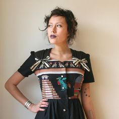 Guatemalan Black Button Up Mini Dress Sz XS / S Rusty by rustycuts, $125.00